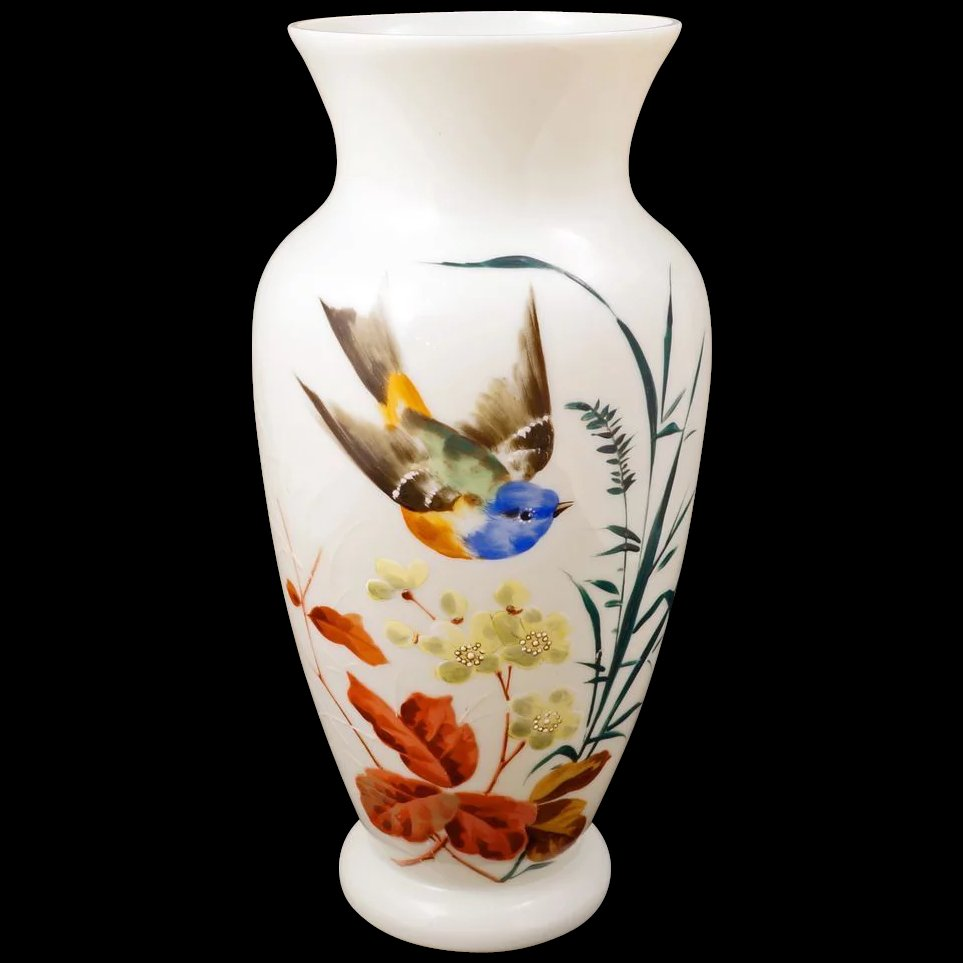 Large white bristol glass vase with a hand painted design of a click to expand reviewsmspy