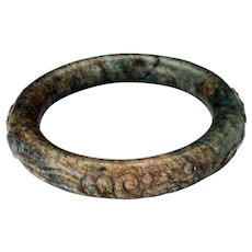 Chinese toroid form 63 mm mottled hardstone bangle bracelet Qing dynasty 19th century