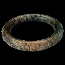 Chinese toroid form 63 mm mottled hardstone bangle bracelet Qing dynasty 19th century