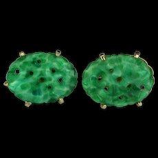 Vintage Marvella carved and pierced jade screw-mount earrings