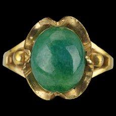 Vintage 10 k gold filled nephrite jade cabochon cocktail ring size 6