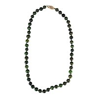 "Vintage Chinese Spinach Green Jade 17"" Necklace Gold-plated Sterling Clasp c 1910"