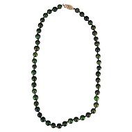 "Vintage Chinese natural spinach green jade 17"" necklace with gold plated sterling clasp c 1910"