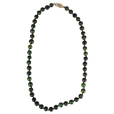 "Vintage Chinese natural spinach green nephrite jade hand-knotted 17"" necklace with gold plated sterling clasp c 1910"