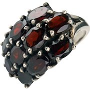Edwardian .925 Sterling silver ring with large garnets size 6 1/2 early 20th century