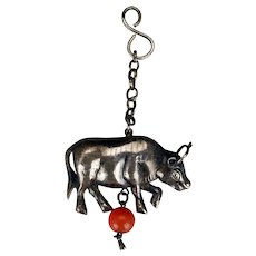 Antique Chinese silver jewelry figural cow pendant with carnelian bead 19th century