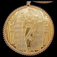 Miriam Haskell Egyptian Tutmania necklace with woven chain and goddess circa 1950