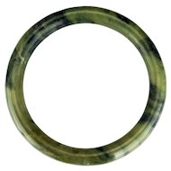 Chinese large 66 mm round mottled green nephrite jade bangle bracelet