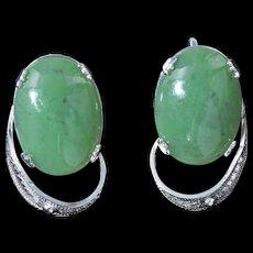 Jade cabochon sterling screw back Sorrento earrings c 1960s