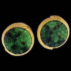 Round Ciner carved and filigree green disc clip earrings c 1960s