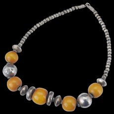 Vintage tribal necklace with large bakelite beads mixed with metal alloy beads circa 1930's