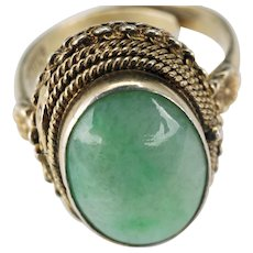 "Chinese silver and jade adjustable ""poison ring"" late 19th century"