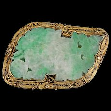 Chinese gold washed silver filigree and carved jadeite Foo lion pin early 20th century