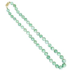 "Chinese Pale Green Jadeite  16"" Necklace with 14 Kt Gold Filigree Clasp with provenance circa 1950"