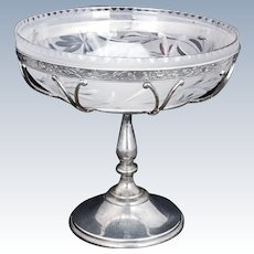 Victorian Silver Plate and Glass Centerpiece or Serving dish by Middletown circa 1890