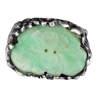 Chinese Silver Ring made with Inset Antique Apple Green Jade Button