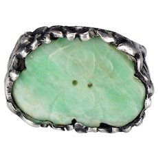 Antique Chinese Ring with Silver Phoenix and Apple Green Jade