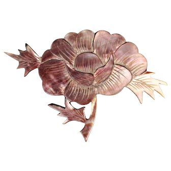 Chinese Mother of Pearl Peony Pin early 20th Century