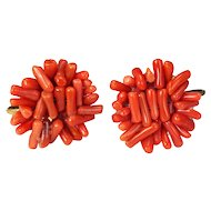 Matched Pair of Coral Screw back Earrings circa 1950