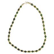 "Vintage Jade and 14KT Gold Bead and Chain 16"" Necklace"