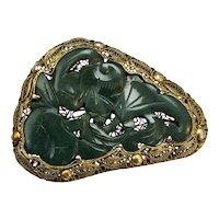 Chinese Spinach Jade Bat and Peach Pin with Gold Wash Silver Filigree Circa 1900