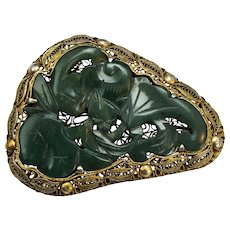 Chinese Spinach Jade Bat and Peach Pin with Gold Wash Silver Filigree Circa 1900