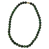 "Vintage Chinese 18"" Spinach Green Jade Bead Necklace"