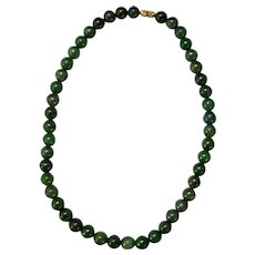 """Vintage Chinese 18"""" Spinach Green Jade Bead Necklace"""