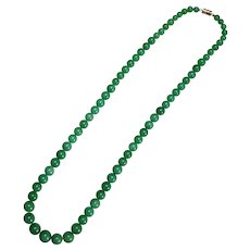 Antique Chinese Blue Green Nephrite Jade Graduated Bead Necklace Circa 1900