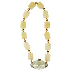 Chinese Jade Blossom, Peking Glass and Sterling Silver Necklace Circa 1920's