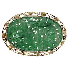 Chinese 14KT Yellow Gold and Nephrite Jade Tablet Brooch/Pin circa 1920