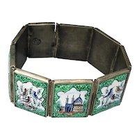 Vintage Persian Enamel 875 Silver Bracelet early-mid 20th C