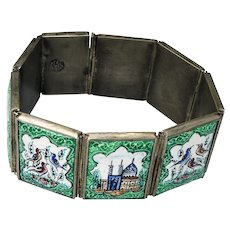 Vintage Persian Enamel 875 Silver Bracelet early-mid 20th C