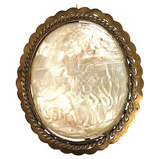 Victorian Chinese Carved Mother of Pearl Pin late 19th Century