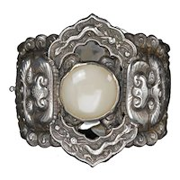 Chinese Republic Period Silver, Jade and Coral Cuff Bracelet