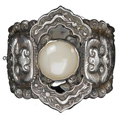 Chinese Republic Period Silver, Jade and Coral Cuff Bracelet