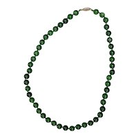 Vintage Chinese Spinach Jade Necklace With Sterling Clasp