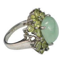 Vintage Chinese 1950s Sterling Silver Cocktail Ring with Semi-precious Stones