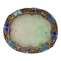 Antique Chinese Jade Gilt Sterling Silver Enameled Pin