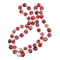 Venetian Red and White Skunk Bead Necklace with Blue Eyes