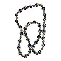 Genuine Antique Venetian Black Skunk and Brass Bead Necklace