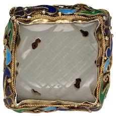 Vintage Chinese Jade, Silver, Gold Wash, Enamel Ring Circa 1920