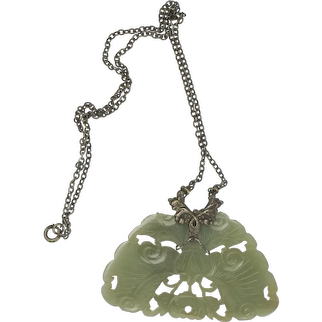 19th C Chinese  Jade Butterfly Necklace Late Qing