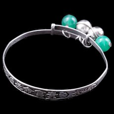 Vintage Chinese silver child's bracelet with jade and sterling bells