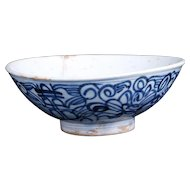 Antique Qing Chinese blue and white porcelain worker's food bowl late 19th century