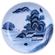 Antique Japanese Porcelain Blue and White Charger Fishing Village Mid 19th Century