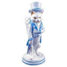 Antique German porcelain figure of gentleman cat match holder late 19th century