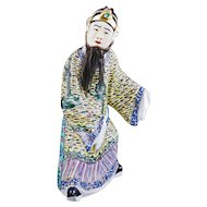 Chinese porcelain famille jeune mandarin figure with beard from real hair circa 1940
