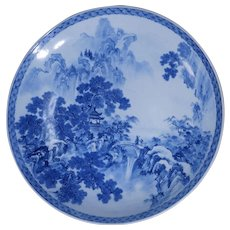 Extremely large Japanese Edo Period porcelain blue and white charger circa mid-19th century