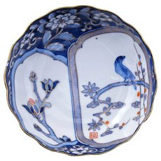 Japanese porcelain Imari dish with magnolia and bird circa 1900